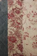 C 1850 Bedding Valance Quilted Textile French Faded Floral Chambray 19th Fabric