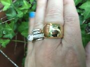 14 Kt Yellow Gold Polished Hammered Domed Wide Cigar Band Ring New Shiny Custom