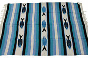 New Blue And White Mexican Fish Theme Floor Rug Large Blanket Throw Yoga Saddle
