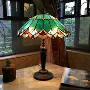 Style 2 Light Table Lamp Green Brown Stained Glass Shade Antiques Bronze
