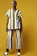 Radiate Culottes, Printed Patterned White Yellow Orange Black, Wide Leg, Waisted