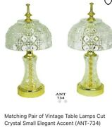 Matching Pair Of Vintage Table Lamps Cut Crystal Small Elegant Accent Ant-734