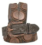 Angel Ranch Western Womens Belt Leather Floral Embossed Conchos Brown Da6274