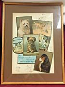 Victorian Dog Christmas And Ad Cards W/ Original Drawing, Silky, Boxer And More