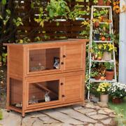 48 Wooden Pet House Poultry Hutch Rabbits Chickens Wooden Cage 2 Storey