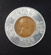 Encased Lucky Cent Penny Vetinary Wheat Ww2 Victory 1945 Us