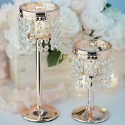 Rose Gold Metal 8 Tall Faux Crystal Beaded Candle Holder Centerpiece Wedding