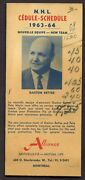 1963-64 Alliance Montreal Canadiens Nhl Schedule Rare