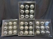 Lot Of 36 Dept 56 Department Glass Ball Round Christmas Ornaments Pearl And Silver