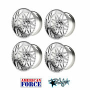 4 20x9 American Force Polished Ss8 Trax Wheels For Chevy Gmc Ford Dodge