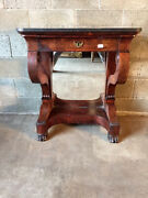 Antique And Elegant Empire Console In Mahogany And Mahogany Feather - Restored