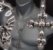 Skull Crown King Cross Rosary 925 Sterling Silver Mens Necklace Chain 18 To 24