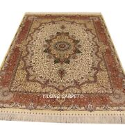 Yilong 5and039x7and039 Floral Hand Knotted Silk Carpet Allergy Friendly Oriental Rug L25a