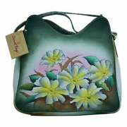 Swank Bags Hand-made And Painted Flowers Leather Tote Bag Sb064-10