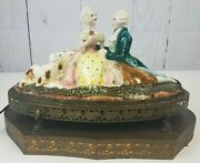 Antique Glazed Painted Porcelain Nite Light Victorian Couple Russian Wolfhounds