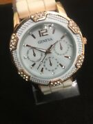 Geneva Watches Women40 Mm Case,beautiful White Face Gold Crystal Dial,lovely