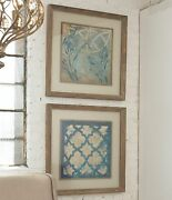 Pair Xxl 31 Reclaimed Wood Frames Stained Glass Prints Wall Art Pictures