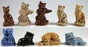 Wade Cats Group Of 9, Whimsie, Red Rose Tea, Party Crackers 1971-79
