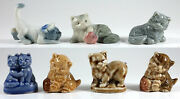 Wade Cats / Kittens Group Of 7, Whimsie, Red Rose Tea, Party Crackers 1954-88