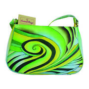 Swank Bags Hand Painted Leather Sling Bag Green Swirl Pattern Sb071-3