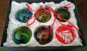 Vintage Hand Blown Crafted Art Glass Christmas Ball Ornaments Set Of 6