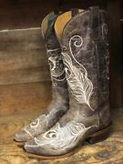 Roper Womenand039s Vintage Brown Peacock Feather Wide Calf Snip Toe Boots 8126-1520
