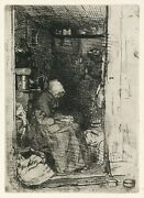 James A.m. Whistler, La Vielle Aux Loques, Etching 1858 American/british Framed