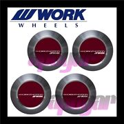 120220 X4 Work Emotion Center Cap Red High Type Four Cap Set For Cr 3p Wheels
