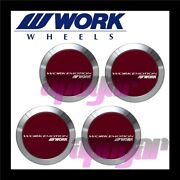 120219 X4 Work Emotion Center Cap Red Flat Type Four Cap Set For T5r 2p Wheels