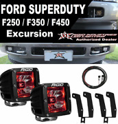 Rigid Radiance Pod Red Light And Fog Light Kit And Harness 99-16 Ford F250 F350 F450