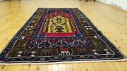 Lovely Vintage 1960s 3and039 5andtimes6and03910 Wool Pile Natural Dye Tribal Prayer Rug