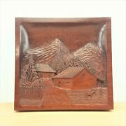 Vintage South American Wood Carving Wall Plaque Mountain Farm Scene Donkey