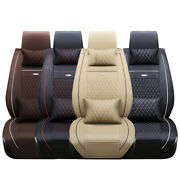 5-seats 3d Car Seat Cover Leather Front Rear Cushion Full Set Pad Mat Universal
