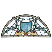 24x11 Sky Blue Coat Of Arms Style Stained Glass Half Moon Window Panel