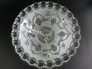 1940s Light Shade Ceiling Fixture Kitchen Grapevine 3 Hole Chain Clear Glass