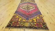 Primitive Vintage 1950-1960and039s Natural Dyes 2andrsquo4andtimes 6and0394 Wool Pile Runner Rug