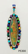 Genuine Green Turquoise Spiny Lapizi Opal Nlay .925 Silver Pettipoint Pendant
