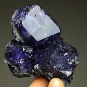 237gextreme Transparent Larger Particles Royal Blue Trapezoidal Fluorite Crytsal