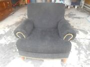 Awesome Vintage 42 Wide Xl Black Chenille And Brass Studs Club Chair