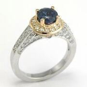 Diamond Sapphire Engagement Ring 18k White And Rose Gold Sizes 4 To 9.5 R517