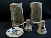 Vintage Williamsburg Pottery 5 Piece Candle Holder Set W/ Small Vase