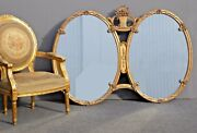 Rare Vintage French Provincial Gold Double Pane Oval Baroque Wall Mantle Mirror