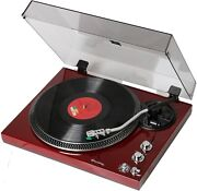 Techplay Tcp4530 Cherry Wood Record Player Turntable - Preamp Rca 33 45 Rpm New