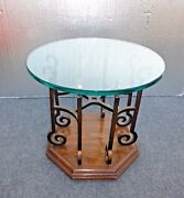 Vintage Drexel Spanish Style Wrought Iron Glass Top Round End Table