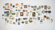 Vintage Collectible Lot Of Soviet Ussr Pin Badges Russia Olympics Towns Etc.