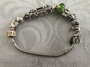 Pandora Bracelet 14ct Carart Clasp With 14 Charms Sterling Silver 925 595 21cm