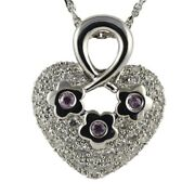14k White Gold Heart Necklace/pendant With Natural White Diamonds