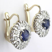 Russian Style 1.92ct Diamond And Sapphire Earrings 14k Gold Style Number E535