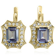 Russian Jewelry 14k Solid Yellow Gold Created Alexandrite Earrings E1229