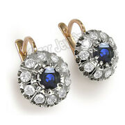 Blue And White Sapphire Russian Style Earrings 14k Rose And White Gold 585 Sale